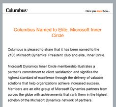 BRADLEY MICHAEL WEBSTER: Columbus: Microsoft Dynamics Inner Circle