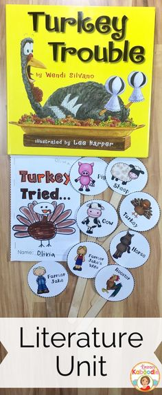 Turkey Trouble by Wendi Silvano is a sweet picture book about the shenanigans of a silly turkey trying to avoid being the family's Thanksgiving dinner. This literature unit is full of fun activities including retelling sticks, a mini-book, and many language arts activities that are common core aligned for kindergarten, 1st, and 2nd grade. Student approved and teacher friendly, you are sure to fall in love with this unit!