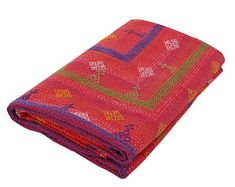 Beautiful Handmade Indian Kantha Bedcover Queen Size Bohemian Red Quilt