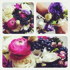 wedding's stuff. bouquet and wristband with magenta ranunculus and violet eustoma.