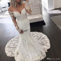 Classy Mermaid Berta Lace Wedding Dresses With Long Sleeves Off The Shoulder Backless Bridal Gowns Beads Chapel Plus Size Vestidos De Nnovia Mermaid Wedding Dress Long Sleeve Wedding Dresses Lace Wedding Dress Online with $189.72/Piece on Kazte's Store | DHgate.com