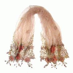 nude tulle /chiffon scarf with floral lace