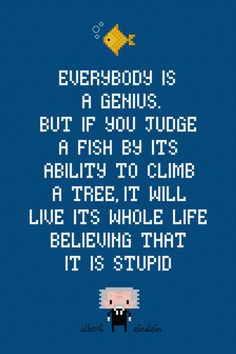 Fish Albert Einstein Quote Digital PDF by AmazingCrossStitch
