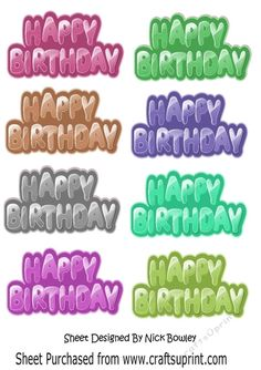 Funky Birthday Tags (set 2) by Nick Bowley Funky Birthday Tags (set 2) can be seen in other colours and designs in my designer resources