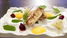 Salmonete con escamas comestibles, emulsión de berros frescos, aire de tomate y vodka de Martín Berasategui