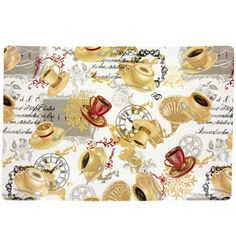 Save your tables with out sacrificing style! Vinyl placemats make clean up a snap while also protecting tables. Decorated with coffee beans and various cups of coffee, each placemat measures 18x12&quo