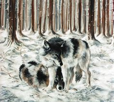 LOVERS  wolves  wildlife, multiple size available,  giclee reproduction wolf alpha by Diana Martin