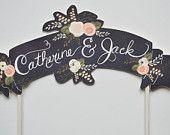 Custom Cake Topper Bride and Groom Handpainted Names-Cream. $42.00, via Etsy.