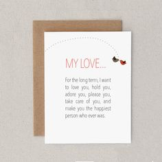 """Funny Valentine's Day Card. Sexy. For Man, Woman, Him, Her, Husband, Wife, Boyfriend, Girlfriend. Adult. """"Long Term, Short Term"""" (CLV-S001) on Etsy, $4.39 CAD"""