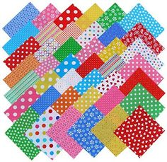 Windham BASIC BRIGHTS Precut 5-inch Charm Pack Cotton Fabric Quilting Squares Assortment Baum Polka Dots