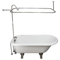 Barclay Products 5.6 ft. Acrylic Ball and Claw Feet Slipper Tub in White with Oil Rubbed Bronze Accessories-TKADTS67-WORB4 - The Home Depot Tub Shower Combo, Shower Rod, Bathtub Shower, Shower Enclosure, Farmhouse Bathroom Accessories, Outdoor Tub, Acrylic Tub, Cast Iron Tub, Shower Units