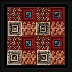 Tribal Pattern Safari Vector Illustration 2 Tan & Brown, Framed Canvas Art by Pied Piper Creative, Beige