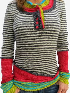Red Wool Blend Long Sleeve Striped Paneled Sweater Type:StripedSleeve Type:Long SleeveElasticity:Slightly stretchyThickness:LightweightMaterial:Wool blendNeckline:Crew Casual Sweaters, Red Sweaters, Sweaters For Women, Fashion Trends 2018, Blouse En Coton, Pullover Outfit, Sweater Shop, Sweater Outfits, Pulls