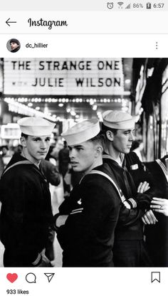 Navy men in NYC circa 1956 Julie Wilson, Navy Man, Love At First Sight, Che Guevara, Nyc, Movie Posters, Moon, Instagram, Film Poster