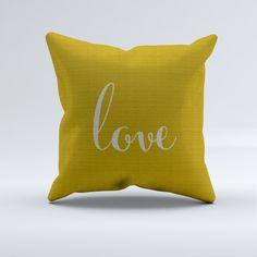 love word throw pillow, LOVE wording throw pillow, mustard yellow and gray throw pillow, modern throw pillows by PrintArtShoppe on Etsy https://www.etsy.com/listing/236318337/love-word-throw-pillow-love-wording