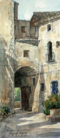 Entrada a sant Jeroni de la Murtra | by rafael pujals #watercolorarts