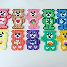Care Bears hama beads by Melty Bead Patterns, Pearler Bead Patterns, Perler Patterns, Beading Patterns, Perler Bead Templates, Diy Perler Beads, Perler Bead Art, Plastic Canvas Crafts, Plastic Canvas Patterns