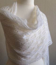 Hand Knitted Lace Wedding Shawl, Wrap, Stole in White Merino Yarn Made to Order by Snugglescuddles on Etsy Wedding Shawl, Lace Wedding, Lace Knitting, Lace Shawls, Looking Stunning, Vintage Photos, Bride, Wool, Trending Outfits