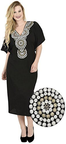 Soft Rayon Dress Nightgown Lounge Kaftan Beach Poncho Women Coverup Plus Black ** Want to know more, click on the image.