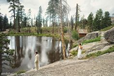 Lake Tahoe Wedding at The Hideout - Kirkwood, CA   by Emily Heizer Photography First Look by the Lake