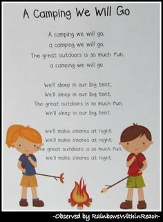 A Camping We Will Go {Fun, simple song for shared reading}