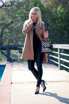 Sterling Style www.sterlingstyle.net  leather leggings, camel coat