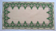 Beauty of Simplicity! Vintage Table Runner Ecru - Embroidered Cypress Green Cross stitch by VintageHomeStories House By The Sea, Vintage Tablecloths, Moroccan Decor, Floor Decor, Holiday Sales, Cottage Chic, Decoration, Cross Stitch Embroidery, Crochet