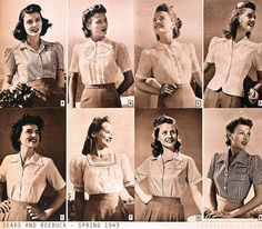 Casual Vintage Shirts - Spring 1943 ~ 40s vintage blouses button front puff sleeves models magazine fashion style