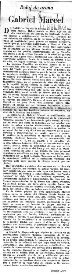 Reloj de arena. Gabriel Marcel. Publicado el 17 de octubre de 1973.