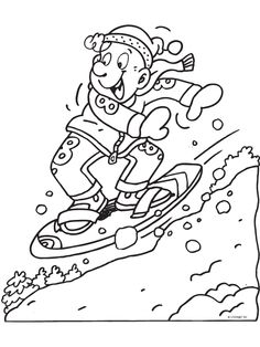 Kleurplaat Snowboarden - Kleurplaten.nl Colouring Pages, Coloring Books, Coloring For Kids, Winter Project, Winter Olympics, Digi Stamps, Winter Sports, Christmas Colors, Olympic Games