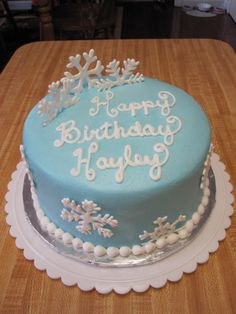 birthday cake made for January winter birthday party.  flakes made from royal icing...my first time ever working with RI.  loved it!