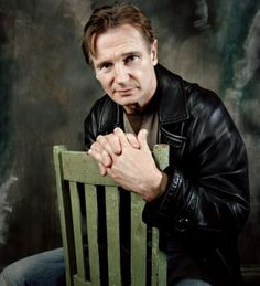Irish men Rock! Liam Neeson, male actor, hands, chair, celeb, movie star, portrait, photo