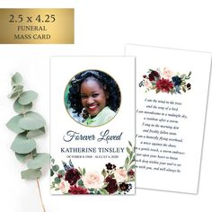 Custom Funeral Prayer Cards designed with your loved one's photo and custom poetry. The gorgeous florals are perfect for a memorial service keepsake for friends and family.