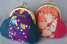 Large coin purse. Japanese kimono fabric and felted wool