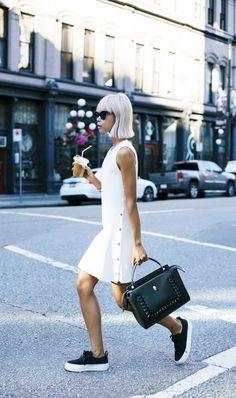 white ruffle hem dress + black platform sneakers