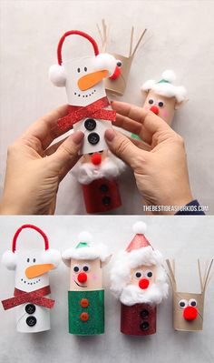 TOILET PAPER ROLL CHRISTMAS CRAFTS - make a toilet paper roll snowman, elf, Santa or reindeer! These Christmas toilet paper roll crafts are so easy and fun to make! Make a snowman, Santa, elf and reindeer toilet paper craft. Christmas Toilet Paper, Christmas Crafts To Make, Toilet Paper Roll Crafts, Christmas Ornament Crafts, Snowman Crafts, Craft Stick Crafts, Handmade Christmas, Holiday Crafts, Christmas Activities
