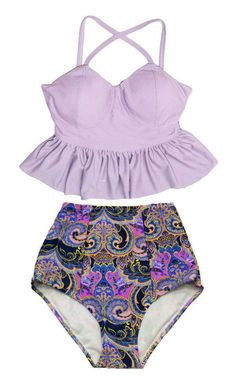 Lavender Violet Long Peplum Top and Paisley High waist waisted Highwaisted Bottom Swimsuit Swimwear Bikini Bikinis set Bathing suit S M L XL by venderstore on Etsy