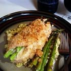 Mozzarella and Asparagus stuffed chicken... Made this for dinner and it was fantastic! After reading several reviews saying the chicken dried out I put some cream of chicken soup on the rolled up chic (Paleo Soup Almond Flour)