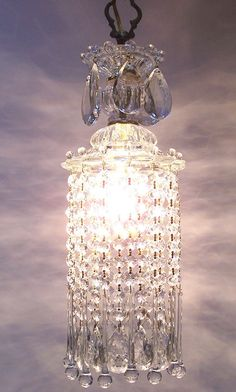 Vintage Crystal Waterfall Pendant Chandelier. Would be pretty in my bathroom or over my makeup table.