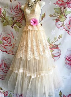 soft buttercream lace tulle boho wedding by mermaidmisskristin
