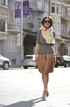love the strips and the scarf!