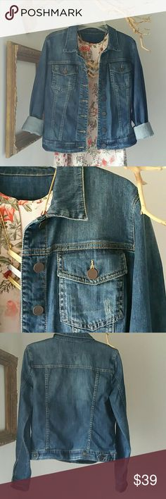 """Kut """"Helena"""" Denim Jacket Change your Kut - Change your world... Awesome condition! No stains, rips or tears.   The details. .. Shoulder width = 15.5"""" Bust = 18.5"""" Sleeves = 24"""" Length = 22""""  **Please note. ..Items listed are in pre-loved condition (unless noted as NWT). I sincerely look over all the details; however, I encourage you to review and ask for additional details before making a purchase.** Kut from the Kloth Jackets & Coats"""