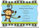 Monkey Boy - Baby Shower Invitations With Squiggle Shape