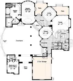 Elegant Plan 6334HD: Award Winning Courtyard Design