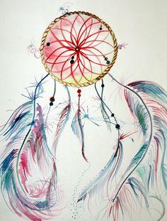 """Red Dreamcatcher"" by Jessica Woodson, on sale now at MezcMarket.com! #art #watercolor #painting #artforsale"