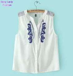 Collared Sleeveless Shirts for Women | Ethnic Retro Embroidery Geometric Blue Floral Button Stand Collar ...