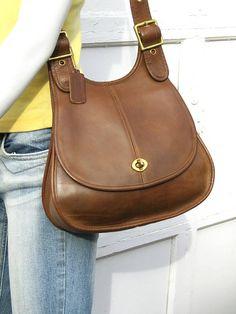 1536380e1b86 Vintage Coach Leather Saddle Bag • Brown Leather Crescent Bag • 1970s NYC •  Pre-creed Bonnie Cashin