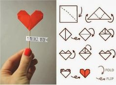 An easy love message for your Valentine, with Origami Diy Origami, Origami Heart, Origami Paper, Origami Letter, Origami Ideas, Diy Paper, Love Craft, Paper Hearts, Kirigami