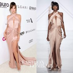 """3,988 Likes, 109 Comments - Fashion Bomb Daily (@fashionbombdaily) on Instagram: """"#AlessandraAmbrosio wore a pink satin #RalphandRusso SS17 Couture gown to the #EltonJohn's #Oscars…"""""""