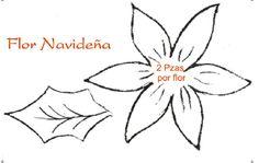 moldes de fomi para navidad flores yonaimi | Molde de flores navideñas en foami - Imagui